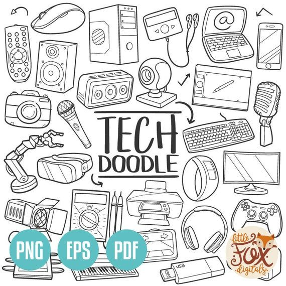 Technology Doodle Icon Vector Tech Machine Computer Industry Etsy In 2020 Computer Drawing Doodles Drawing Technology