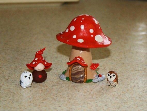 Miniature Polymer Clay Mushroom House For Terrarium by jessnryder, $20.00  - fimo sculpey polymer clay