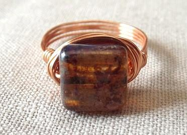 Copper wire ring  wire wrap ring  brown glass by PepperandPomme