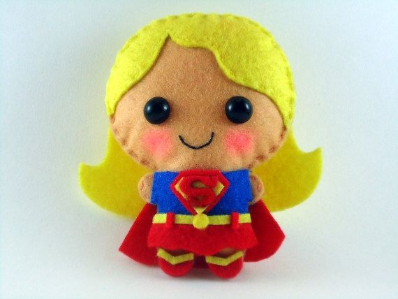 Supergirl felt plush doll in a kawaii style