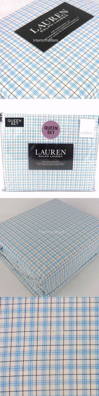 Sheets and Pillowcases 20460: Ralph Lauren Plaid 4Pc Queen Sheet Set Blue 100% Cotton Extra Deep New -> BUY IT NOW ONLY: $78.96 on eBay!