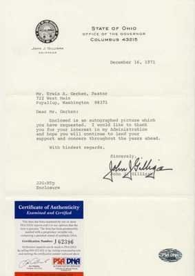 JOHN GILLIGAN SIGNED TYPED LETTER PSA COA OHIO GOV . $30.00. JOHN GILLIGAN HAND SIGNED TYPED LETTER~PSA DNA COA~OHIO GOVERNOR DESCRIPTION: FORMER OHIO GOVERNOR, JOHN J. GILLIGAN HAND SIGNED THIS TYPED LETTER DATED DECEMBER 16, 1971. CLICK ON PHOTOS FOR CLEARER AND LARGER IMAGES. AUTOGRAPH AUTHENTICATED BY PSA/DNA WITH NUMBERED PSA/DNA AUTHENTICATION HOLOGRAM STICKER ON ITEM AND MATCHING NUMBERED PSA/DNA CERTIFICATE OF AUTHENTICITY (COA) INCLUDED. PSA/DNA COA #J62396. ITEM ...