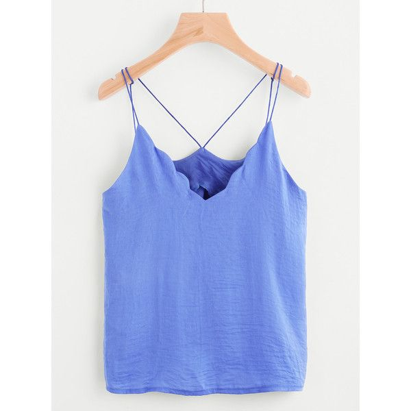 Chevron Trim Cami Top ($7.99) ❤ liked on Polyvore featuring tops, blue, spaghetti strap cami, camisole tank, blue cami top, blue tank top and spaghetti strap camisole tops