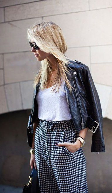 #fall #fashion / leather + gingham