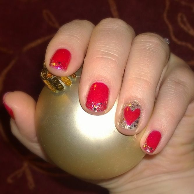 My Christmas nails. Red gel manicure with bling bling. Juicy sangria by #sensationail #gelfanatic .Jouluinen geelilakkaus.