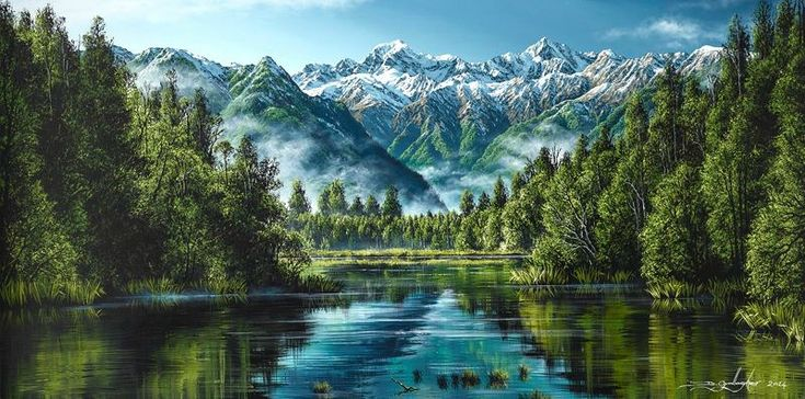 Lake Matheson - fine art print on canvas by NZ painter Dale Gallagher. Available rolled or ready to hang.