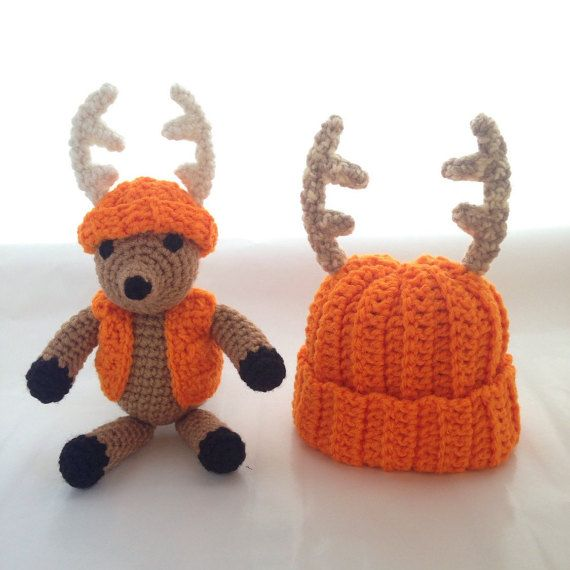 Amigurumi Cowboy Hat : Amigurumi Baby Deer Hat Set Stuffed Toy by ...