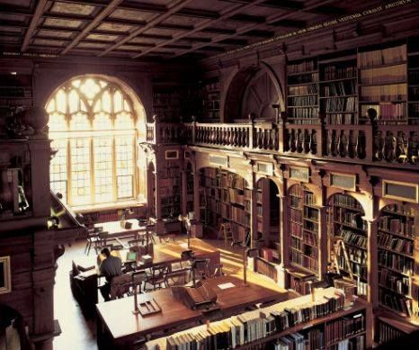 """A DISCOVERY OF WITCHES real-time reading, October 2 (chapter 13): """"Matthew came to collect me after lunch--the only creature among the human readers in the Selden End."""" Photo of the Selden End of Duke Humfrey's Library, the manuscript and rare book reading room, Bodleian Library."""