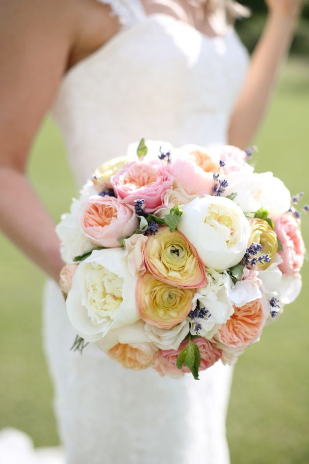 """Our bouquets were tied with lace and included – white peonies, coral charm peonies peach 'Juliet' David Austin Roses, vuvuzela roses, white o'hara roses, ranunculus, white hydrangea,  sweet peas, lavender and fresh herbs.""  Read more: http://bridalmusings.com/2013/09/elegant-english-countryside-wedding-dasha-caffrey-photography/  photo by Dasha Caffrey Photography"