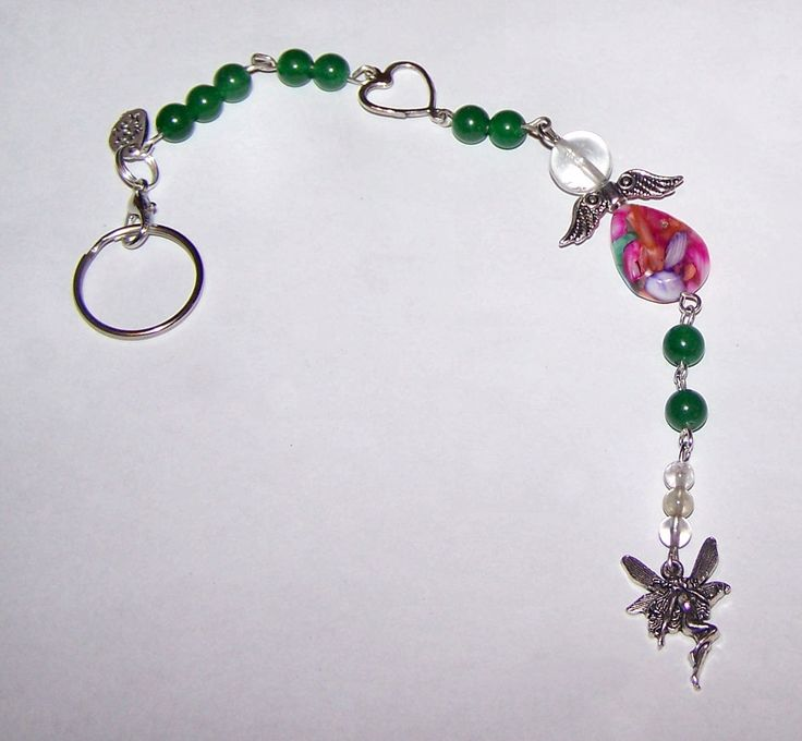 Handmade Angels Mother of Pearl Shell Tourmaline and Jade Key Chain Purse Dangle Backpack Dangle Pendant Charm - pinned by pin4etsy.com