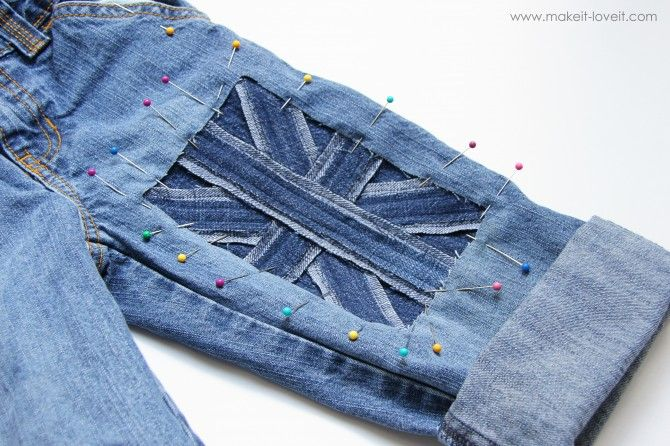 not necessarily Union Jack, but the idea of just cutting a hole out the jeans & replacing with another contrasting piece of denim...