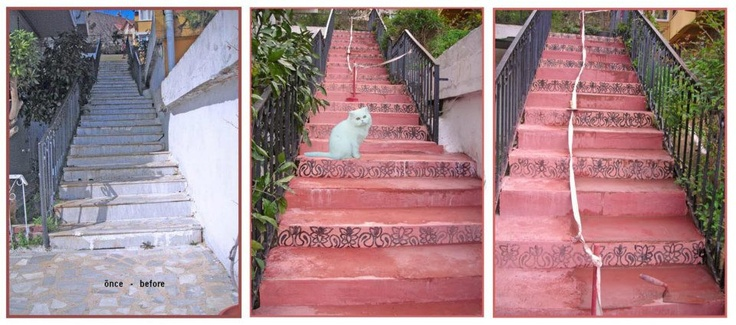 "STAIRS POSTMODERN(ISTINYE)!... "" I did it!...I did it!..."" (Mr.Higgins / Rex Harrison / MyFairLady / 1963 / The stage: after the ""Grand Royal Ball "" at the Higgins' house… ) Maybe I was not able to lead an artistic work as I dreamt of at the ""school stairs"" (a la Gaudi(!) ; but I was able to plan ; design ; plaster and paint of our own building's main entrance's staires… I project (hope) toachieve teawiking works in a month's time. Here are the evaluating works photos .(I'll add meanwhile)"