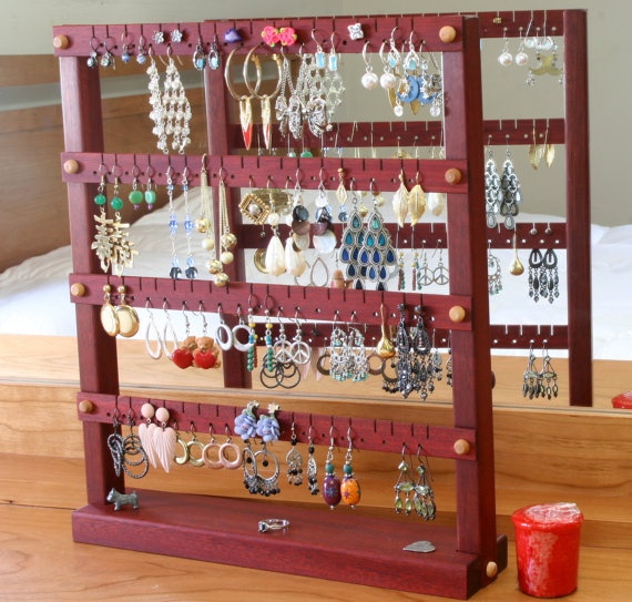 Jewelry Holder Earring Stand Bloodwood Red Wood Holds Up To 72 Pairs Of Earrings Organizer Display