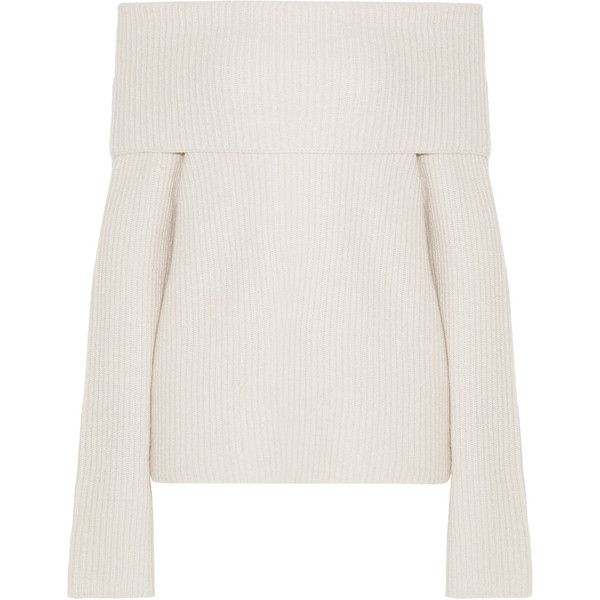 The Row Agneta off-the-shoulder cashmere sweater (€1.280) ❤ liked on Polyvore featuring tops, sweaters, jumper, long sleeves, my clothes, pure cashmere sweaters, off shoulder tops, cream sweater, the row sweater and white off shoulder top