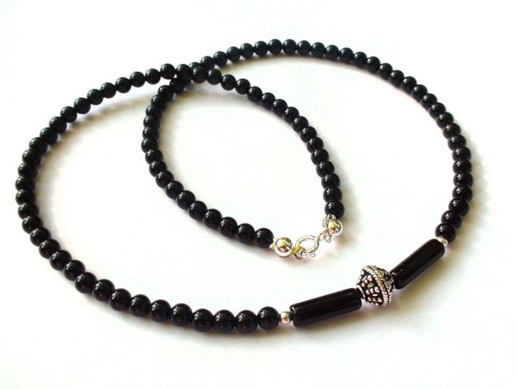 Mens Necklaces – Mens Necklace - Onyx, 925 silver, Bali silver – a unique product by OlgaJewelryBoutique on DaWanda