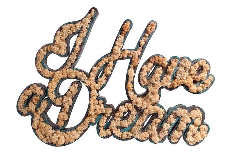 "Logo  ""I have a dream"" z mchu Moss Trend w naturalnym kolorze. Dostępne w Bandit Design.   #MartinLutherKing #motto #cytat #quote #Ihaveadream #moss #mech #logo"