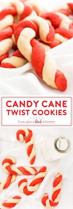 Twist candy cane cookies are a must-make for Christmas! Red and white peppermint shortbread cookie dough is twisted together to look like candy canes.   www.ifyougiveablondeakitchen.com