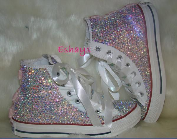Crystal Rhinestone I Converse Shoes are authentic or money back. This  design comes with silver sequin bows on the back but if your do not want  bow inbox us ... 58ae3c8522