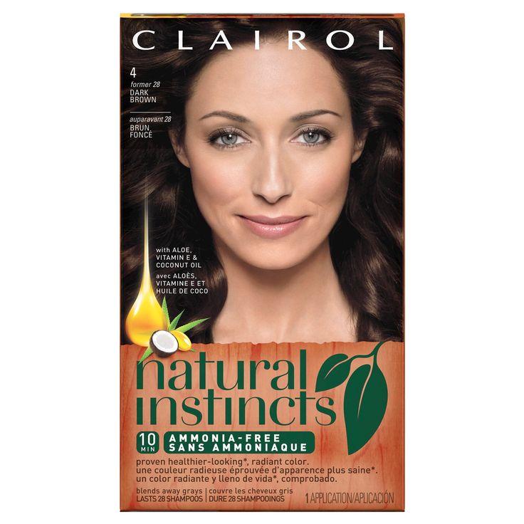 Clairol Natural Instincts Non-Permanent Hair Color 4/28 Nutmeg Dark Brown - 1 Kit, Dark Brown-28