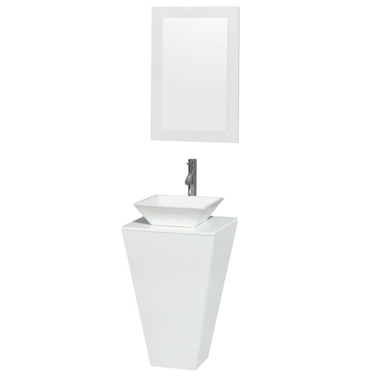 Website Picture Gallery Esprit Pedestal Bathroom Vanity in Glossy White White Man Made Stone Countertop Pyra White Porcelain Sink and inch Mirror by Wyndham Collection