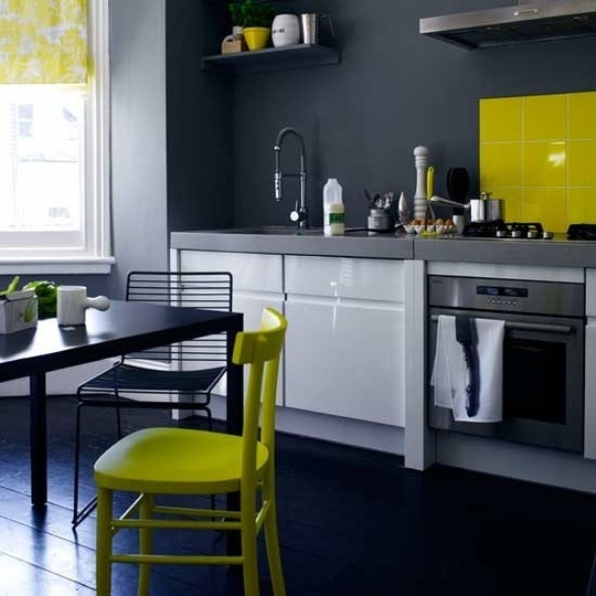 Color Under Your Feet: Painted Kitchen Floors | Apartment Therapy: Grey Wall, Grey Yellow, Grey Kitchens, Design Kitchen, Colors Schemes, Modern Kitchens, Yellow Accent, Yellow Kitchens, Gray Wall