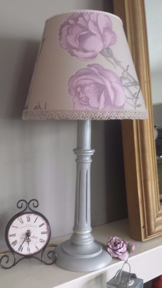 Table lamp base, unique lamp, column bedside lamp, desk lamp, lighting, beautiful distressed Annie Sloan Paris Grey upcycled lampbase, light. An adorable, small, lamp base in Annie Sloan Paris Grey chalk paint, and clear wax, this lovely column lamp was then distressed quite heavily then layered with pewter and opal gilding. | eBay!