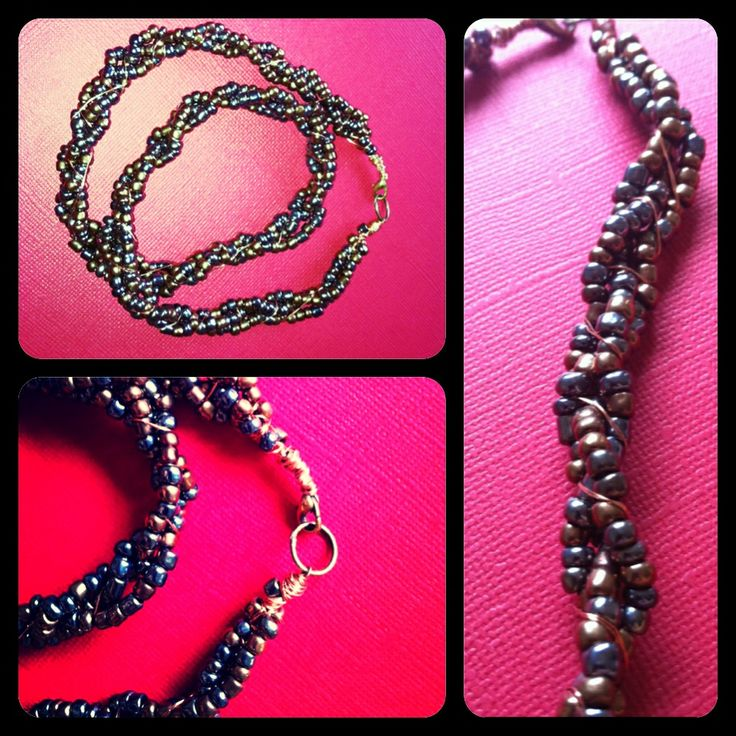 Braided necklece with glasbeads, copper and silver.