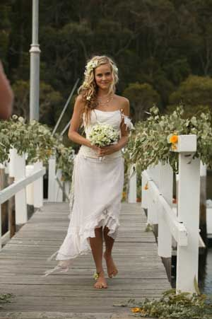 Is it acceptable to wear no shoes on your way down the aisle?    I think Tasha in Home and Away, played by Isabel Lucus, pulls it off.
