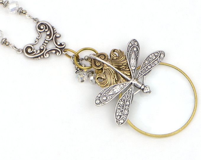 Steampunk Libelle Halskette, Silber Lupe, Messing Libelle Schmuck, Metall-Schmuck, lange Schichtung Kette gemischt