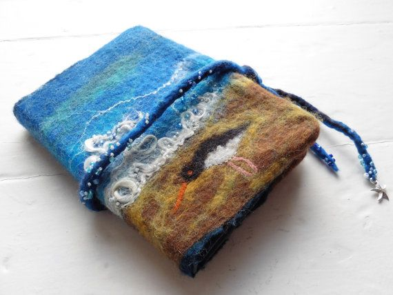 A6 Hand-felted Removeable Journal Cover: by LittleDebFelts on Etsy.  See more of my work on Facebook, Folksey and Etsy.