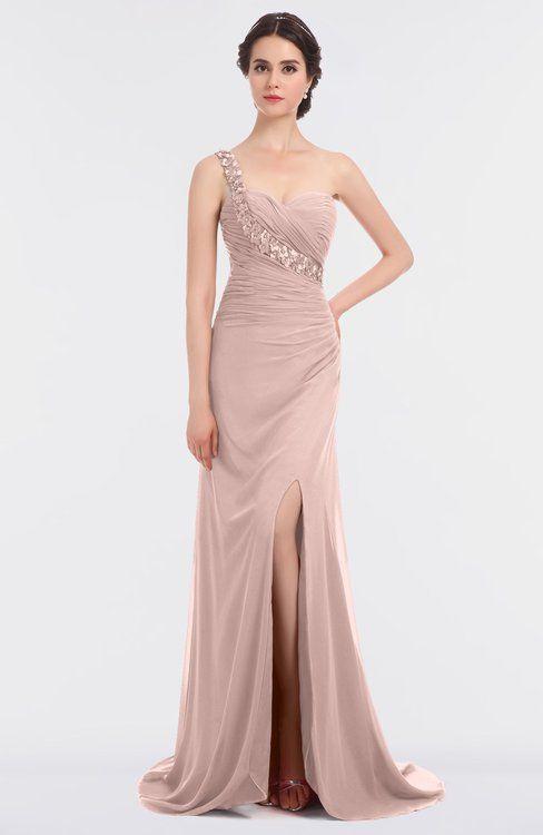 00b39e36211e ColsBM Selah Dusty Rose Sexy Sheath Asymmetric Neckline Sleeveless Sweep  Train Beaded Bridesmaid Dresses