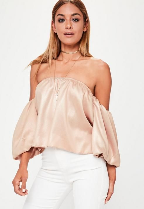 Missguided Nude Balloon Sleeve Bardot Foil Crop Top