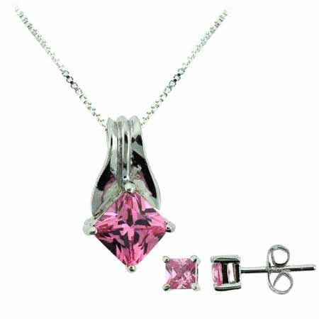 Sterling Silver Pink cz Pendant and Stud Earrings Set SilverSpeck.com. $24.99. Save 55% Off!