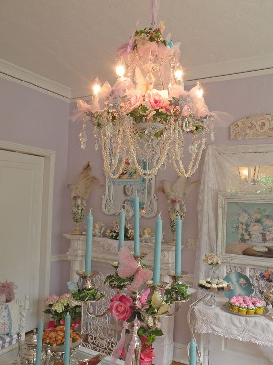Beautiful shabby chic room with candles & chandelier