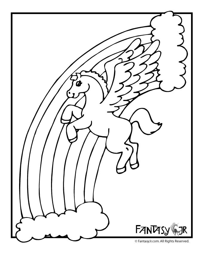 unicorn and rainbow coloring page | Coloring pages ...