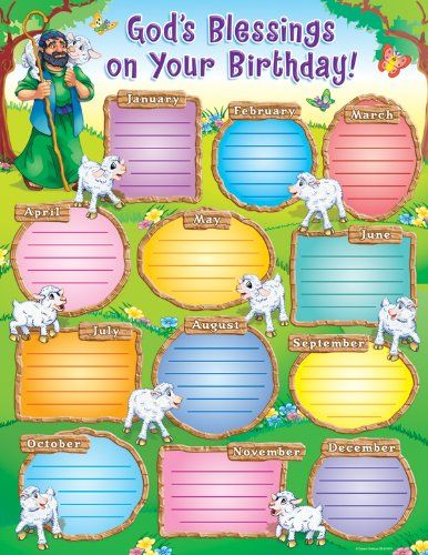 God's Blessings on Your Birthday Sunday School chart.