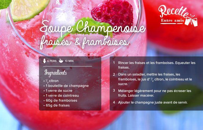 Soupe de champagne à la framboise et fraise