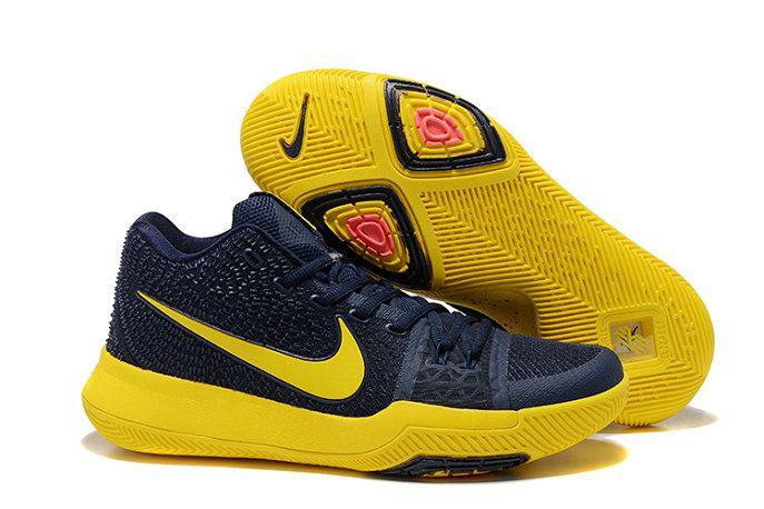 aa416e64121 Mens Original Nike Kyrie 3 Navy Blue Lemon Yellow Basketball Shoes ...