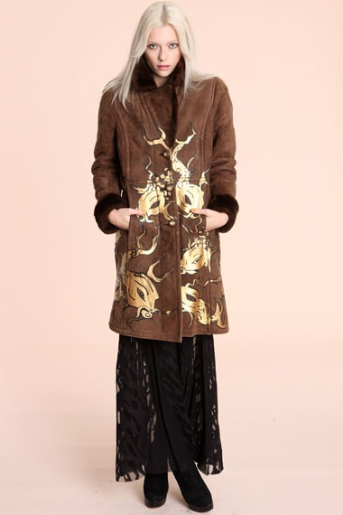 Katarina Kozic Fish Hand-Painted Sheepskin Coat