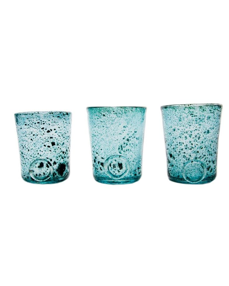 Three glasses set-turquoise Crafted by hand, this stunning glasses set feature a classic design and colored finish that may vary slightly between products. Perfect for serving individual desserts at dinner parties or drinks in the garden.