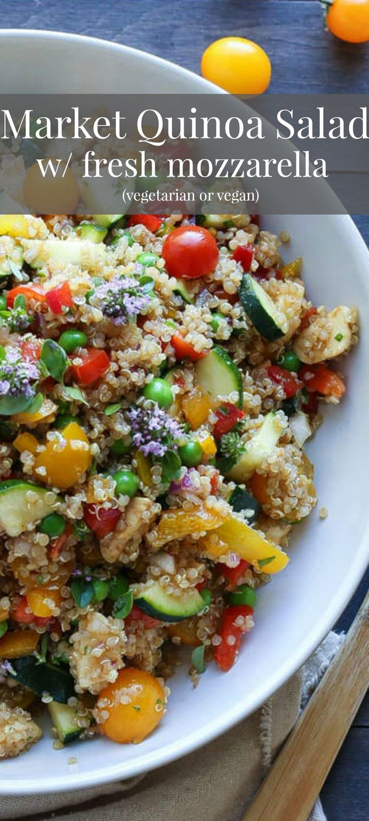 A delicious, healthy and texture rich salad salad made with the freshest farmers market finds! Market Quinoa Salad with Fresh Mozzarella - vegetarian or vegan + gf