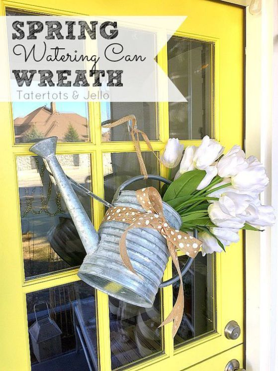 Spring Watering Can and Silk Tulips Wreath DIY Tutorial via Tatertots and Jello