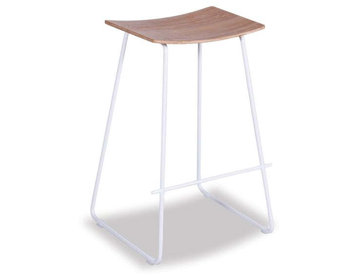 Yvonne Potter Y Design Timber Counter Stool Replica   White Frame & Oak Seat