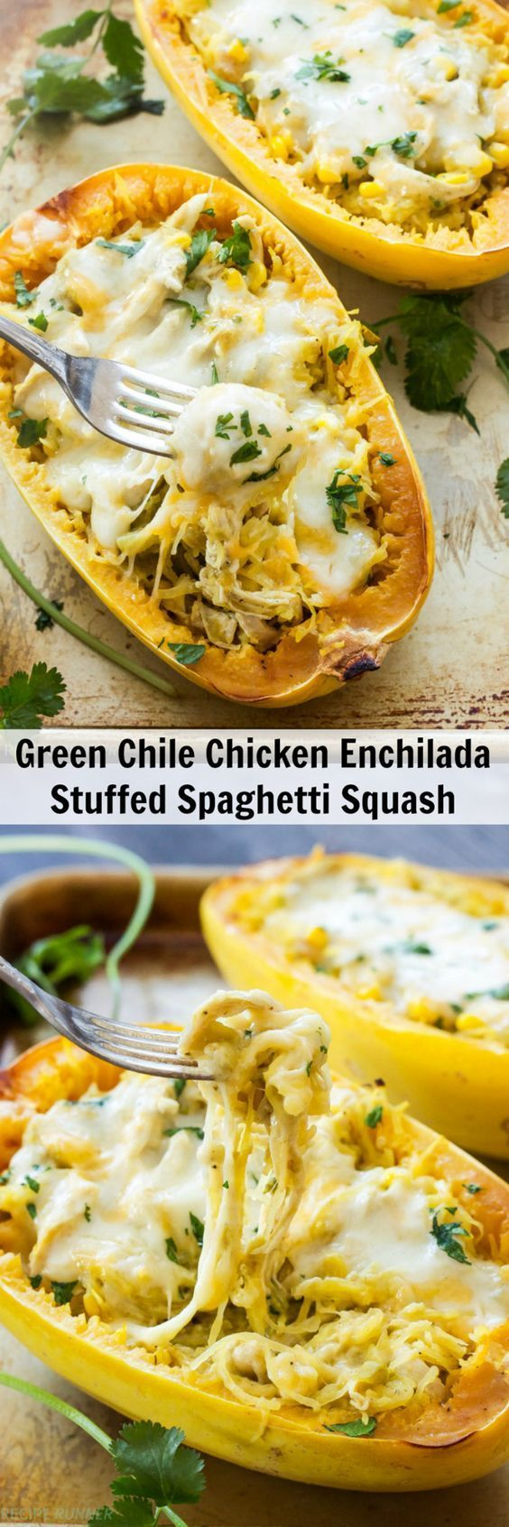 Green Chile Chicken Enchilada Stuffed Spaghetti Squash  You won't miss the tortillas carbs or time spent rolling up the enchiladas when you make this Green Chile Chicken Enchilada Stuffed Spaghetti Squash!
