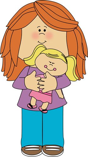 Little Girl Holding a Doll Clip Art - Little Girl Holding a Doll Image
