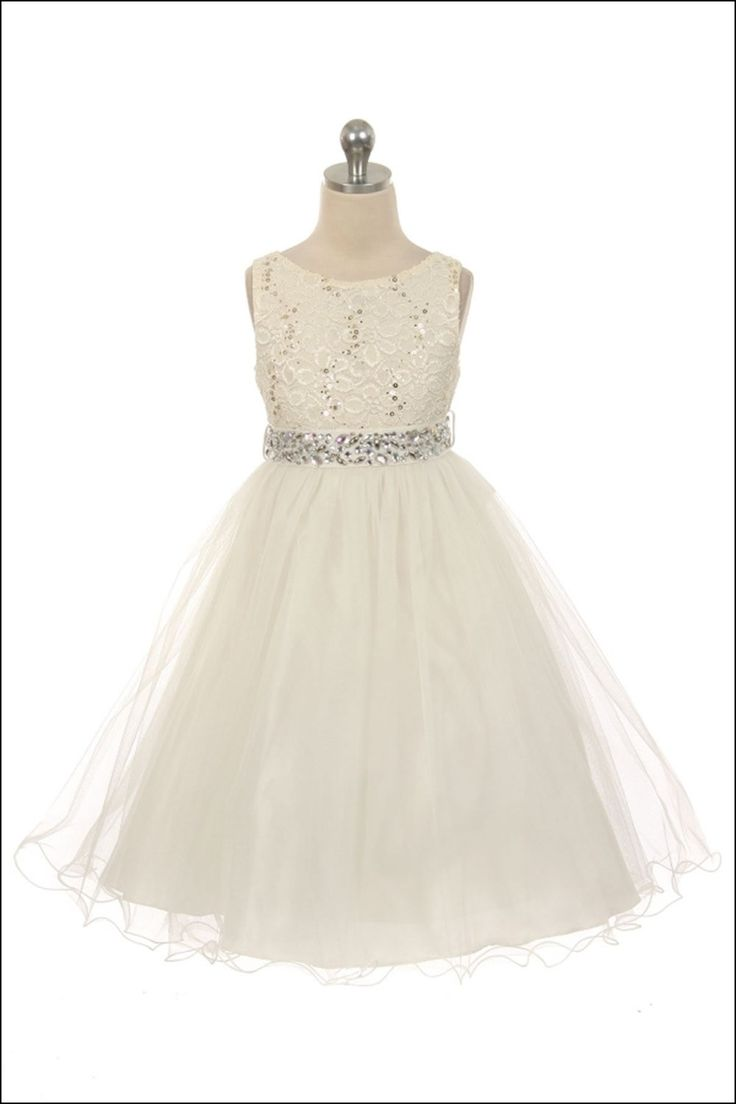 Ivory and Silver Flower Girl Dresses