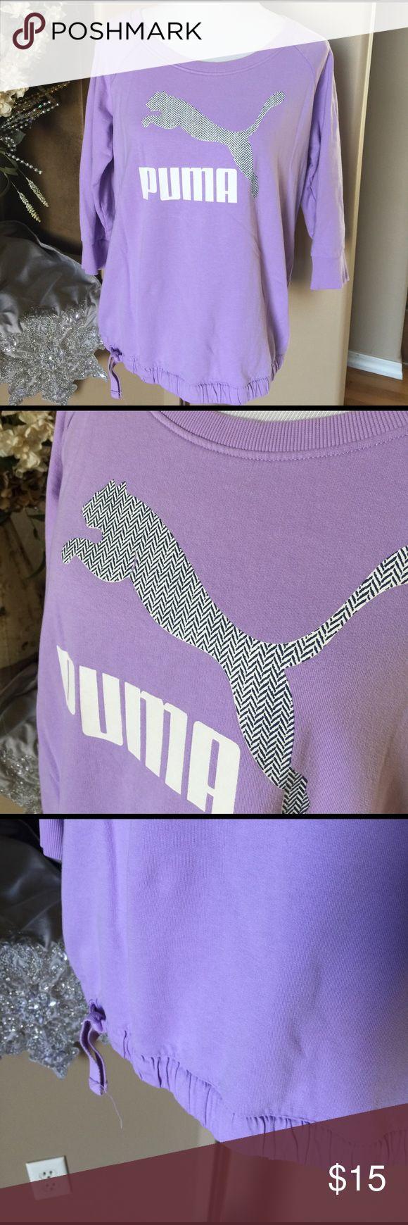 Lavender three-quarter sleeve Puma sweatshirt Drawstring waist. 88% cotton 12% polyester. SD Puma Tops Sweatshirts & Hoodies