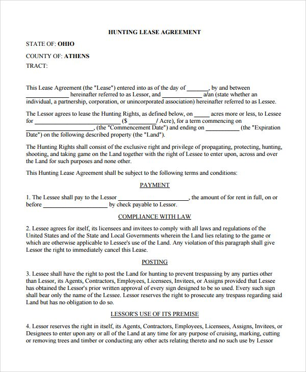Hunting Lease Lease Agreement Contract Template Lease