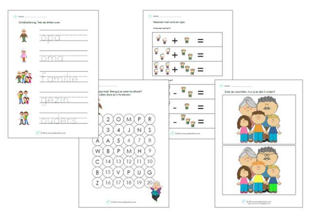 Werkbladen thema opa's en oma's onderbouw. Leuk voor bij de Kinderboekenweek van 2016!