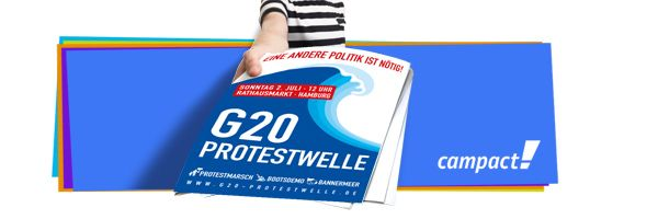 """Klicken Sie hier und bestellen Sie Ihr Aktionspaket /Erdogan, Trump, Putin, Xi Jinping – die Autokraten dieser Welt fliegen Anfang Juli zum G20-Gipfel in Hamburg ein. Die Welt schaut auf die Hansestadt – wir nutzen diesen Moment. Unser Ziel: Eine bunte und kraftvolle Bürgerbewegung füllt die Straßen Hamburgs. Mit zehntausenden Menschen sagen wir am 2. Juli """"Nein"""" zum Nationalismus der Autokraten und zur neoliberalen Politik der G20 – das ist unsere Protestwelle."""